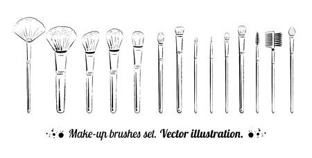 lipstick brush: Makeup brushes kit. Hand drawn vector set.