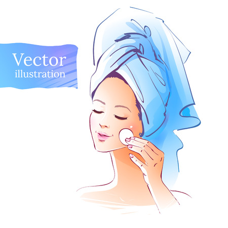 beauty treatment: Vector illustration of girl. Skin care concept.