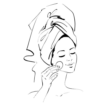 girl with towel: Vector line art sketch of girl. Skin care concept.