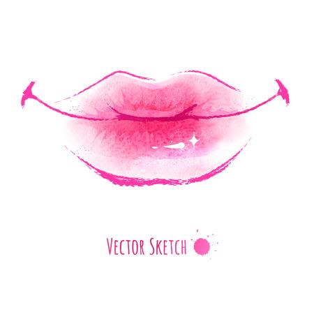 Hand drawn watercolor vector illustration of lips. Vector