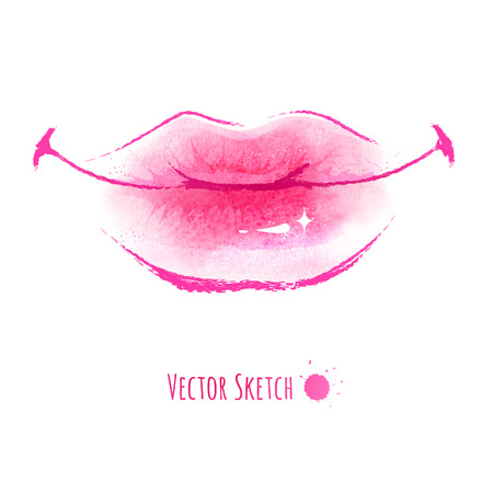 Hand drawn watercolor vector illustration of lips. Illustration