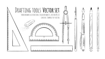 Line art drawingof drafting tools. Çizim