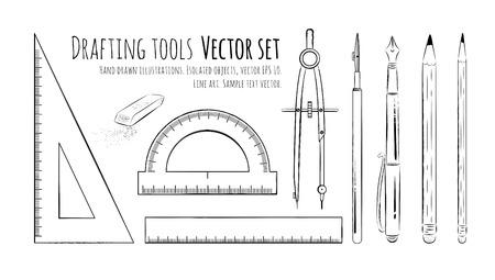 drafting: Line art drawingof drafting tools. Illustration
