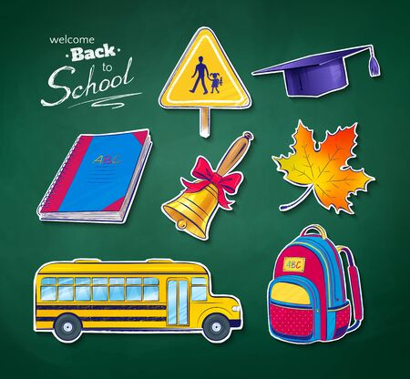 Back to school vector set with green chalkboard texture. Vector