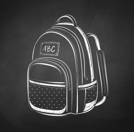 mochila escolar: Dibujo Pizarra de bolsa de la escuela. Vectores