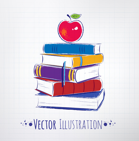 Apple on a pile of books. Vector illustration. Illustration