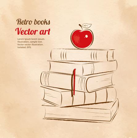 literatura: Ilustración vectorial de la vendimia del concepto de la educación. Apple en los libros.