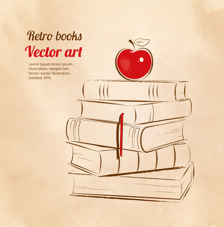 yellow apple: Vintage vector illustration of education concept. Apple on books.
