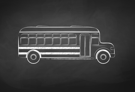 Chalkboard drawing of school bus.