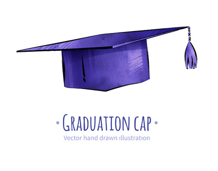 Hand drawn vector illustration of graduation cap. Иллюстрация