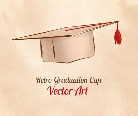 oldened: Hand drawn vintage vector illustration of graduation cap.