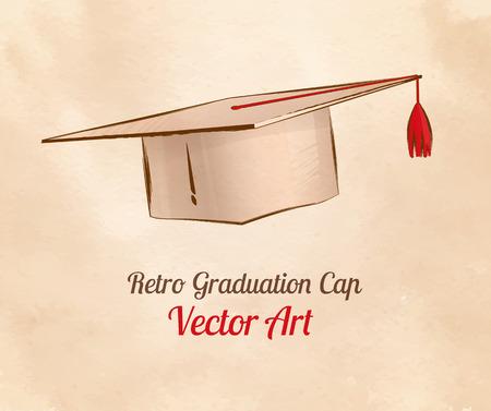 Hand drawn vintage vector illustration of graduation cap.