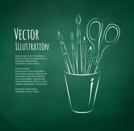 art back: Hand drawn vector illustration of art tools in holder.