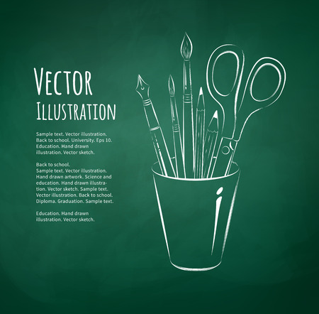 Hand drawn vector illustration of art tools in holder.