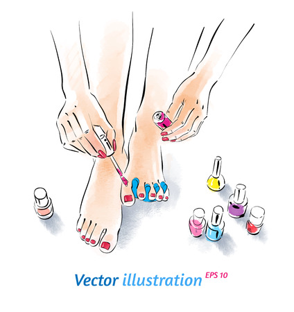 Home pedicure. Vector illustration with watercolor texture. Vector