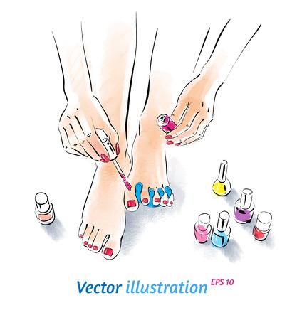 Thuis pedicure. Vector illustratie met aquarel textuur.