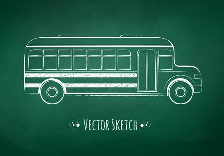 Chalkboard drawing of a school bus on green school board background.