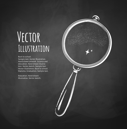Chalkboard drawing of magnifying glass. Vector