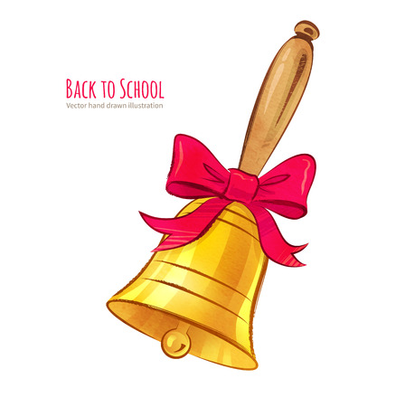 scarp: Hand drawn vector illustration of school bell. Illustration