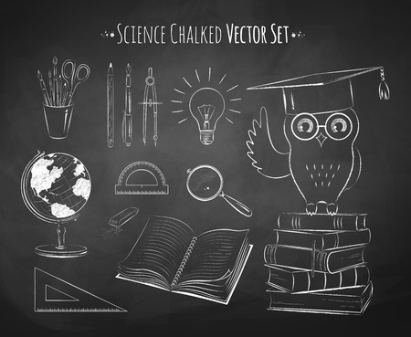 chalk outline: Chalkboard drawing of science vector set.