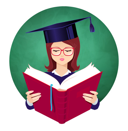 alumni: Girl wearing graduation hat reading book on chalkboard background.