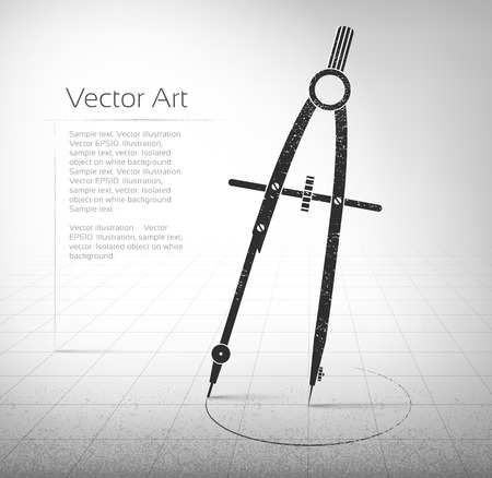 drafting: Vintage Vector illustration of compasses. Illustration