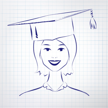 alumni: Student girl wearing graduation hat. Hand drawn sketch on notebook background.