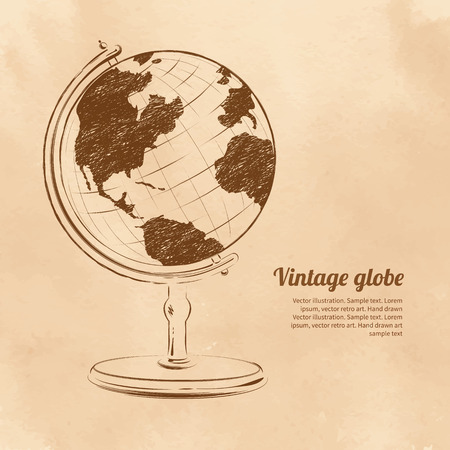 yellow earth: Vintage vector illustration of globe.