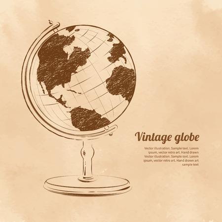 reise retro: Weinlese-Vektor-Illustration der Globus. Illustration