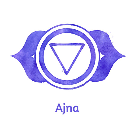 holistic health: Vector watercolor illustration of Ajna chakra. Illustration