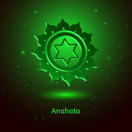 anahata: Vector illustration of Anahata chakra.