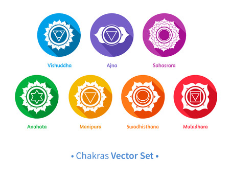 sacred lotus: Vector set of chakra symbols. Illustration