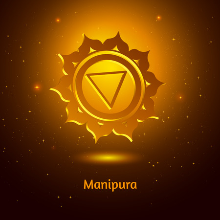the energy center: Vector illustration of Manipura chakra. Illustration