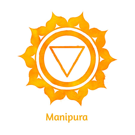the energy center: Vector watercolor illustration of Manipura chakra. Illustration