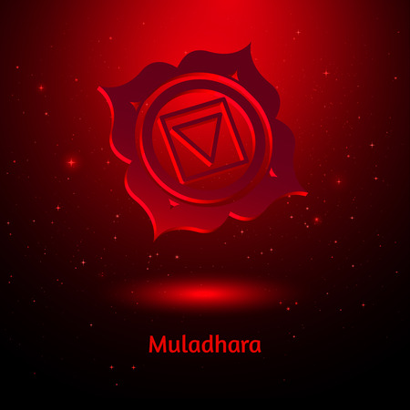 Vector illustration of Muladhara chakra.