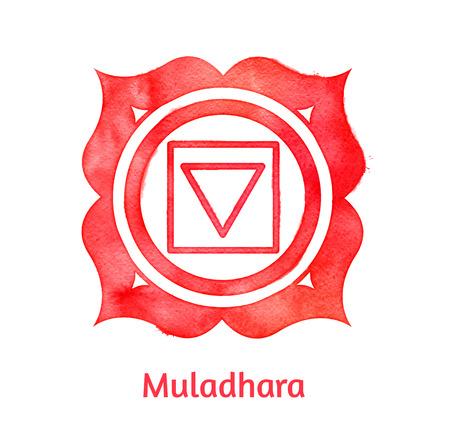 reiki: Vector acquerello illustrazione di Muladhara chakra.