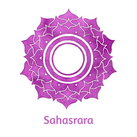 reiki: Vector acquerello illustrazione di Sahasrara chakra.