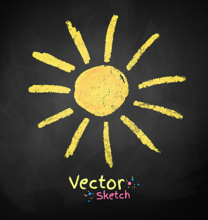 Vector chalkboard drawing of sun. Stock Illustratie