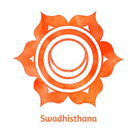 swadhisthana: Vector ilustraci�n de la acuarela Swadhisthana chakra.