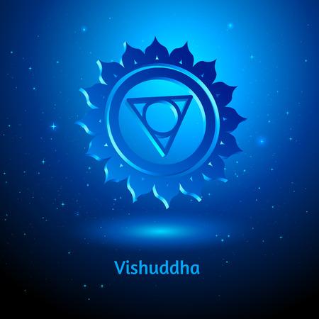 3d om: Vector illustration of Vishuddha chakra.