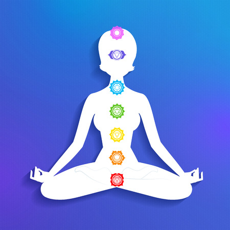 yogi aura: Vector illustration of female silhouette and chakras.