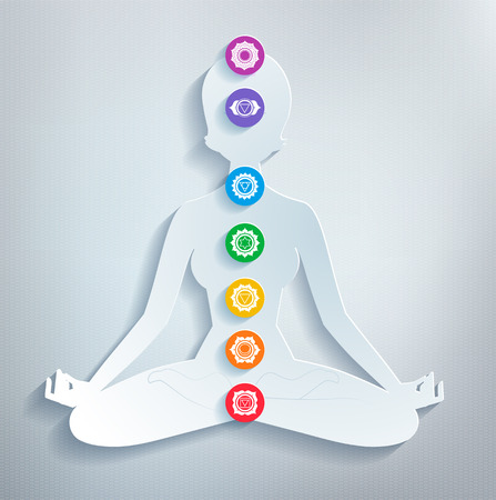 aura energy: Vector illustration of female silhouette and chakras.