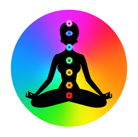 Vector illustration of female silhouette. Meditation concept.