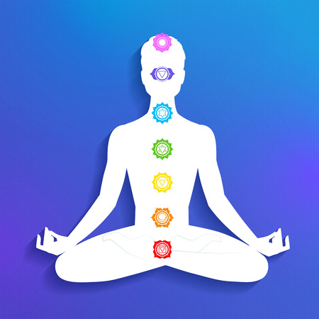 yogi aura: Vector illustration of male silhouette and chakras.