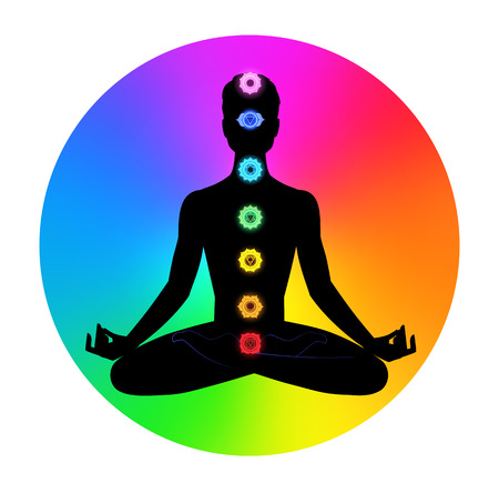 yogi aura: Vector illustration of male silhouette. Meditation concept.