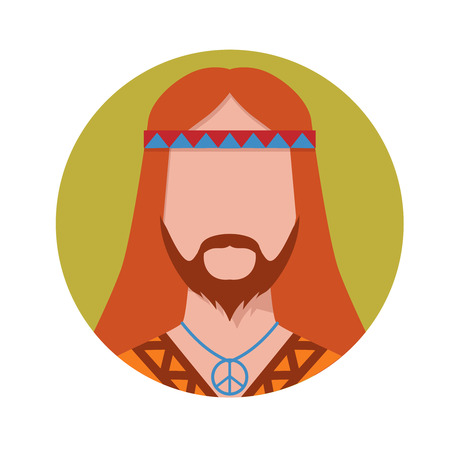 man with long hair: Vector illustration of hippie male avatar. Illustration
