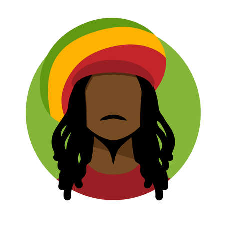 dreadlock: Vector illustration of rastafarian man.