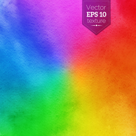 Rainbow vector background with watercolor texture. Stock Illustratie