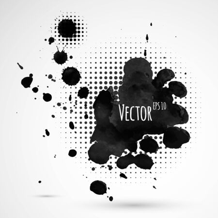 inky: Vector abstract background with inky halftone splashes.