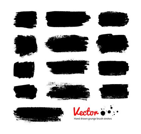 daubs: Black grunge hand drawn banners. Vector set.